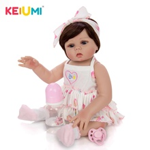 KEIUMI 48cm Reborn Babies Doll All Silicone Body In Tan Skin Lifelike Newborn Baby Girl Doll For Sale Kid Birthday Gift Can Bath cute 22 soft silicone reborn babies doll for sale 55 cm lifelike smile princess girl baby doll for child bedtime birthday gift
