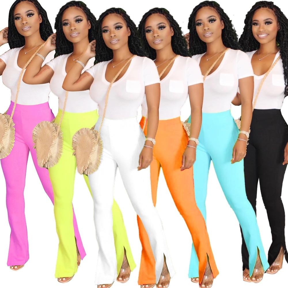JRRY Casual Women Flare Pants Full Length Flares Capris Pants High Elasticity Bell Bottom Trousers Boot Cut Long Pants