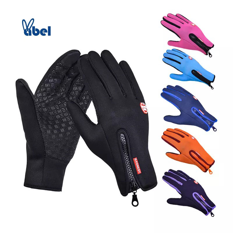 Man Touchscreen Winter Thermal Gloves Cycling Ski Outdoor Waterproof Camping Zipper Motorcycle Gloves Sports Women Full Finger