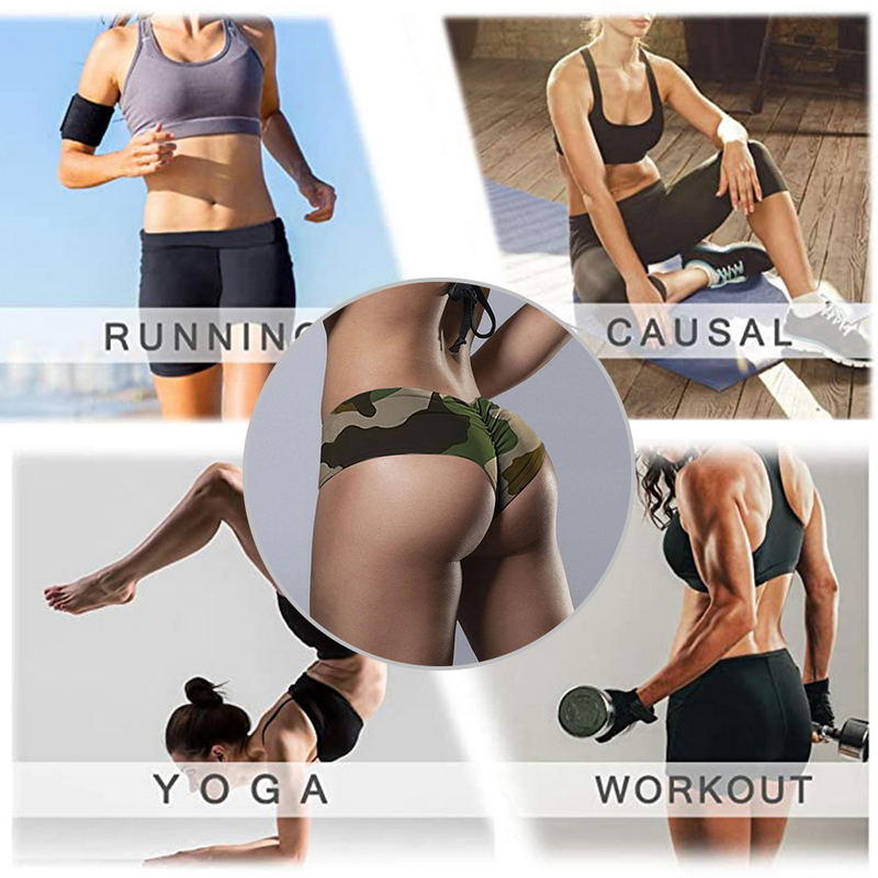 Laamei Women Elastic Sport Shorts Low Waist Gym Fitness Running  Short Pants Sexy Female Camouflage Skinny Shorts 4