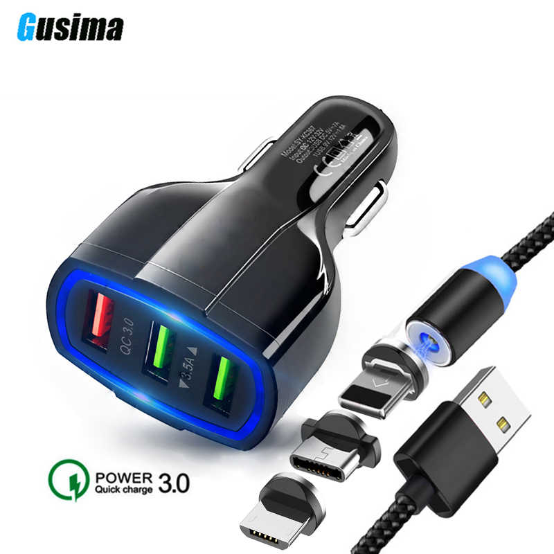 QC 3.0 3 USB Car Charger Quick Charge 3.0 3-Ports Fast Charger for Car Phone Charging Adapter with USB Magnetic cable for iphone