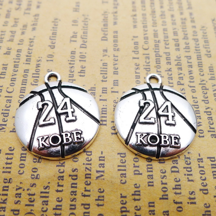 6 pieces/lot 20*23mm No. 24 KOBE charm Antique silver color Alloy necklace pendant bracelet key chain DIY handmade jewelry