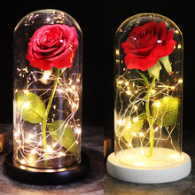 Red Roses of Beauty and the Beast Decorate Valentine's Day Gifts Christmas Birthday LED Rose Lights on a Glass Dome Wooden Base red rose with fallen petals in a glass dome on a wooden base birthday gift beauty