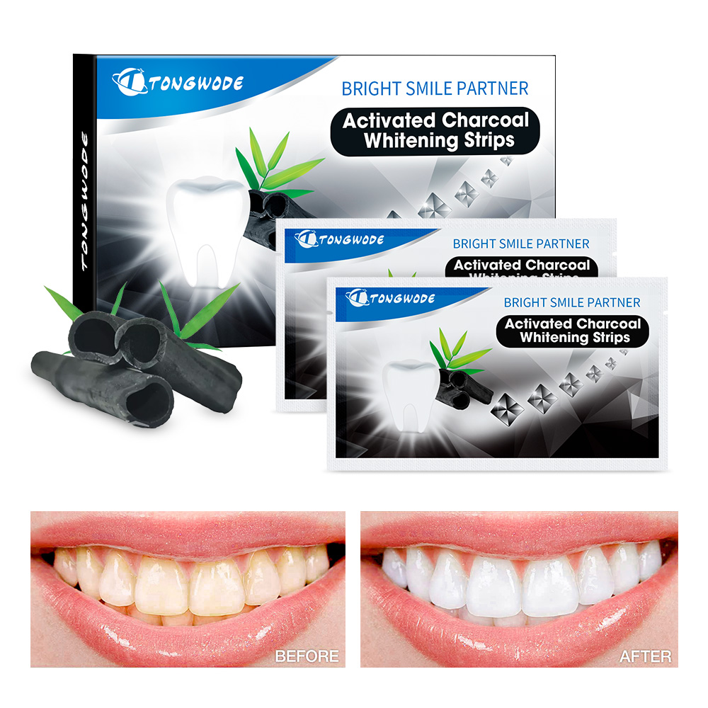 Tongwode New Arrival Activated Bamboo Charcoal Teeth Whitening Strips For Oral Hygiene Dental Veneers Polishing Tooth Tartar