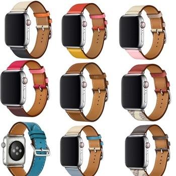 цена Bracelet for iwatch belt Series 5/4/3/2/1 Genuine Leather strap For Apple Watch band Single Tour 38mm 42mm 40mm 44mm онлайн в 2017 году
