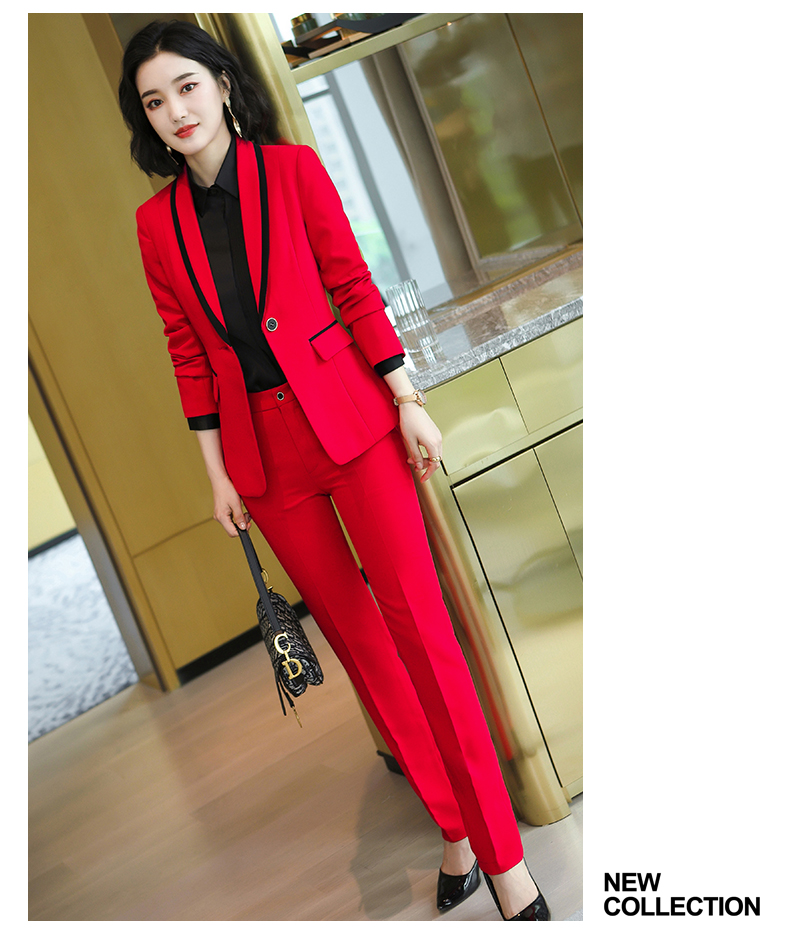 New Arrival Women Formal Pant Suit Gray Black Red White Solid One Button Work 2 Piece Set Office Blazer And Full Length Trousers