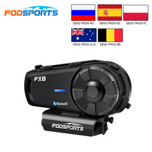 Fodsports-intercomunicador FX8 para casco de motocicleta, inalámbricos con bluetooth Auriculares, Radio FM, resistente al agua, 1000m