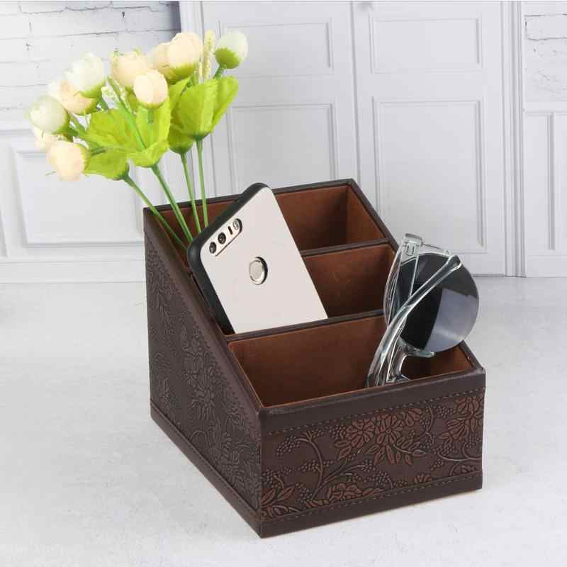 3 Kompartemen Retro PU Kotak Penyimpanan Wadah Case Bunga Bermotif Remote Control Ponsel Pemegang Organizer Hot Sale
