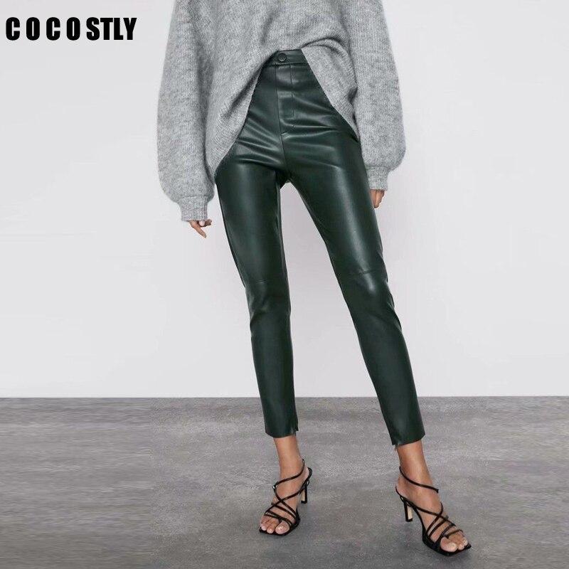 2020 Pencil Pants Women Stylish PU Leather Pants Side Zipper Pockets Decorate Female Solid Trousers Long Pantalones Mujer