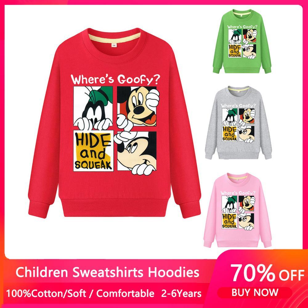 Cartoon Mickey Boys Sweatshirts for Little Kids Hoodies Clothes 2-8Years Autumn Children Long Sleeve Shirts Cotton 1