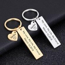 Chaveiro personalizado de presente, nome personalizado gravar e data meu amor minha vida meu amigo para casais homens mulheres marido presente chaveiro com anel