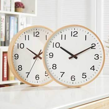 Nordic Simple Wall Clock Wood Round Mute Living Room Clock Mute Bedroom Quartz Office Clocks Wall Home Decoration Clock WKP623