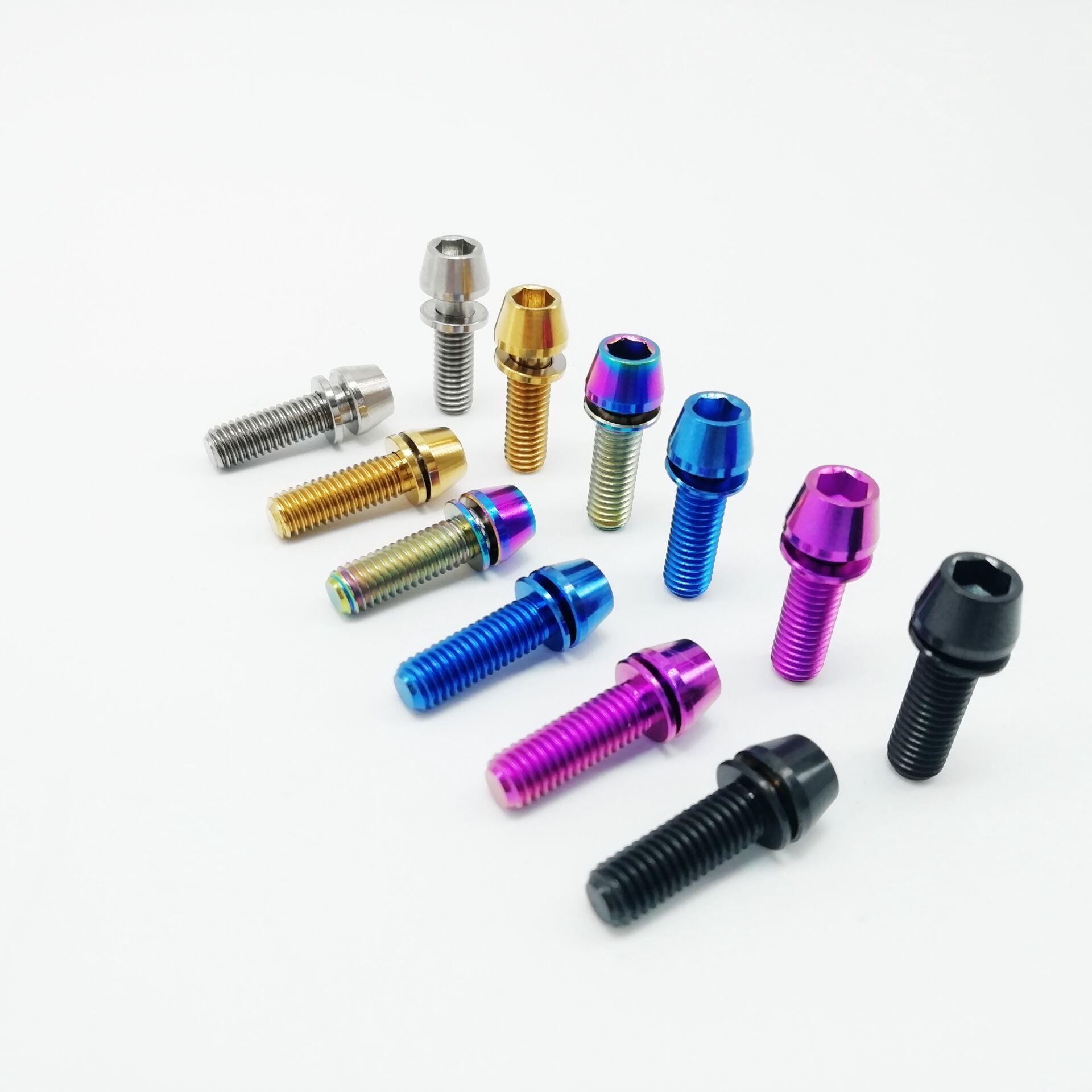 10 pcs M5 x 18mm Titanium Bolt w// Ti Washer Blue fit Stem Use