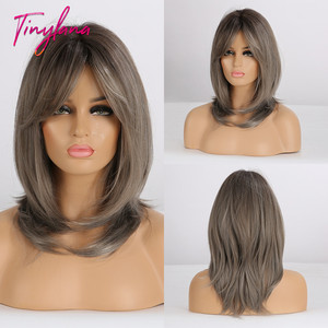 Image 1 - Küçük LANA düz sentetik peruk kadınlar için afrika amerikan orta uzunlukta gri kül peruk patlama ile ısıya dayanıklı iplik