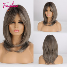 TINY LANA Straight Synthetic Wigs for Women African American Medium Length Gray Ash Wigs With Bangs Heat Resistant Fiber