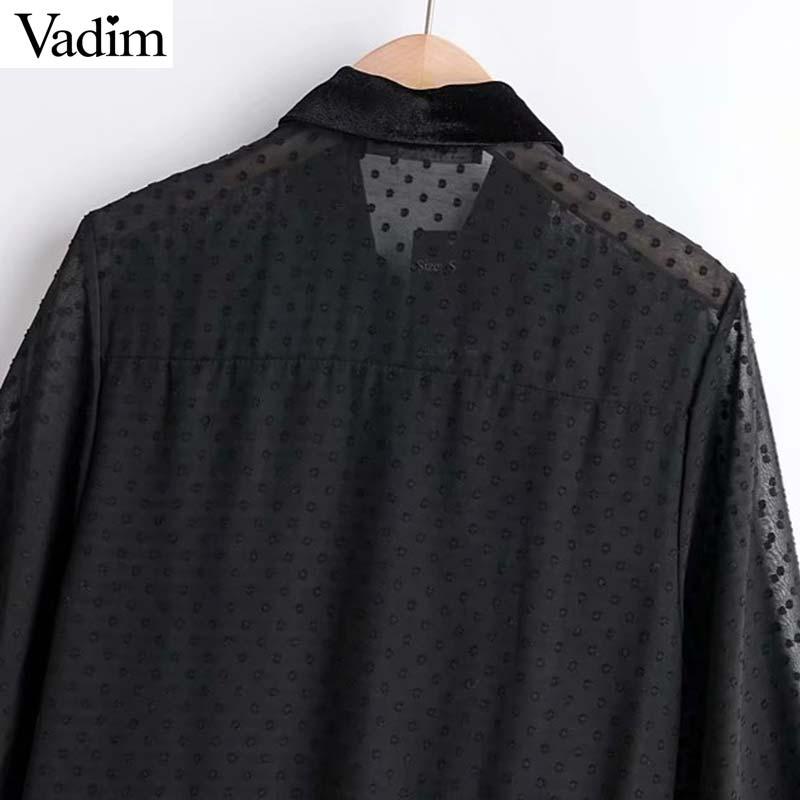 Vadim women chic chiffon black midi dress turn down collar long sleeve female casual mid calf dresses straight vestidos QC711