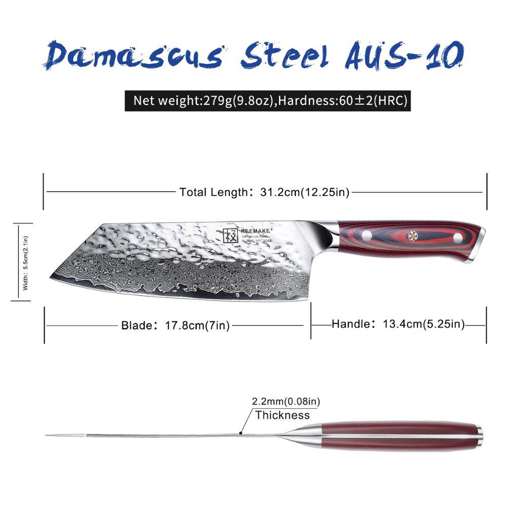 Image 3 - Sunnecko 7 Damascus Cleaver Knife Japanese AUS10 Steel Core  Hammer Blade G10 Handle Kitchen Chef Cooking Nakiri Knives CutKitchen  Knives