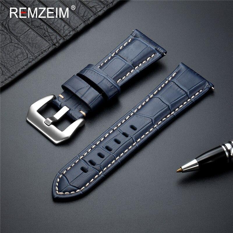 Remzeim novo 20 22 24 26mm pulseira de relógio de couro genuíno pulseira azul pulseira de relógio acessórios com fivela de metal sólido