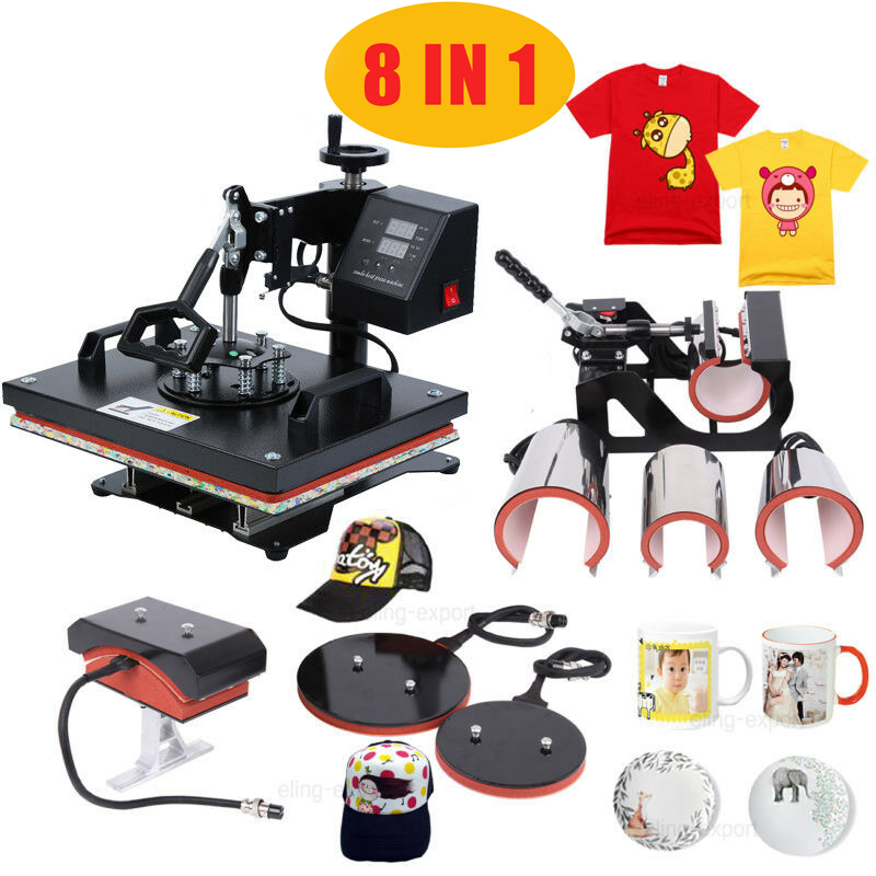 8 In 1 Muntifunctional Sublimation 30*38CM/38*38CM Combo Heat Press Machine Heat Transfer Printer