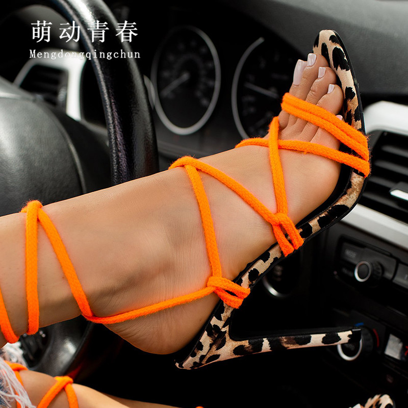 Sexy Leopard Hollow Out High Heels Women's Sandals Lace Up Ankle Strap Thin Heel Orange Pumps Open Toe Party Pumps Mujer Zapatos