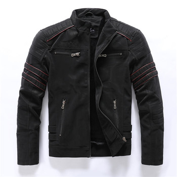 2019 Autumn Winter Men's Leather Jacket Casual Fashion Stand Collar Motorcycle Jacket Men Slim High Quality PU Leather Coats