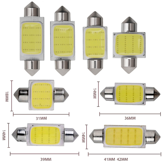 1pcs C10W C5W LED COB Festoon 31mm 36mm 39mm 41/42mm 12V White Bulbs for Cars License Plate Interior Reading Dome Light 6500K