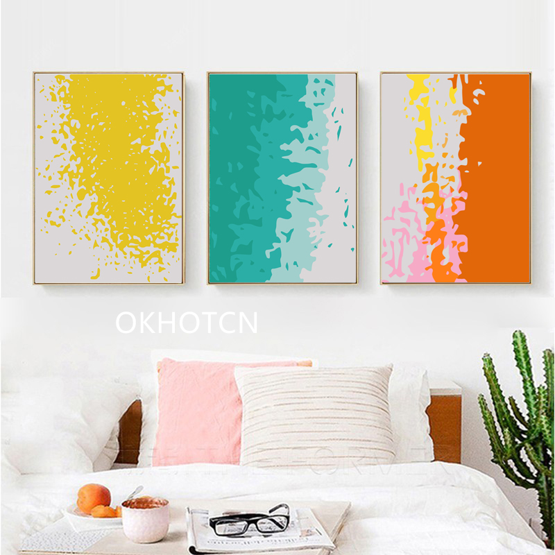 Colourful Style Yellow Blue Artistic Canvas Painting Nordic Poster Wall Pictures For Living Room Home Decoration Posters Prints