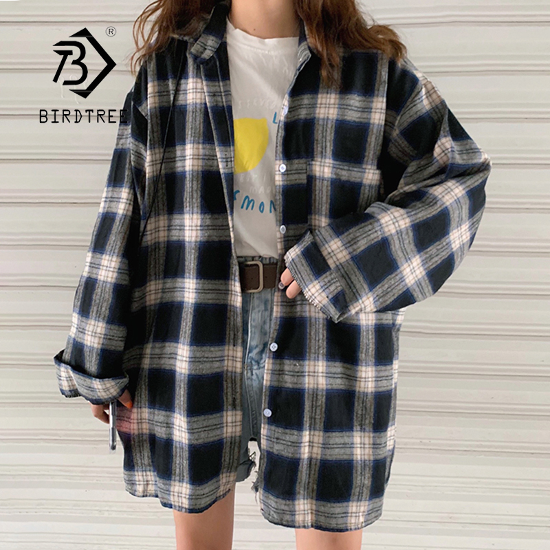 New Arrival Women Batwing Sleeve Oversize Harajuku Plaid Shirt Turn-down Collar Button Up Retro Brushed Blouse Feminina Blusa T9