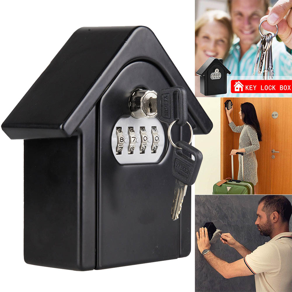 Key Lock Box With Waterproof Case Wall Mount Metal Password Box For Home Business  NC99