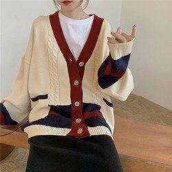 Mujeres Otoño Invierno Twist Patchwork largo suéter abrigo femenino de manga larga cuello en V de punto Cardigan suelto de talla grande bolsillo prendas de vestir