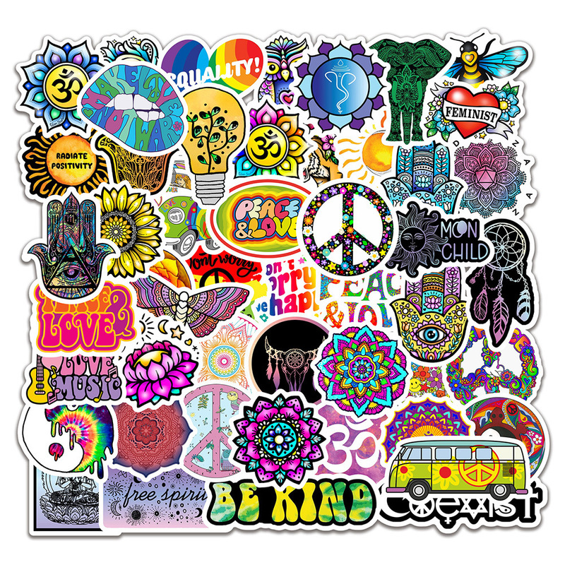 50Pcs/pack Retro Hippies Stickers Love And Peace For Motorcycle Laptop Luggage Skateboards PVC Waterproof Diary Stationery