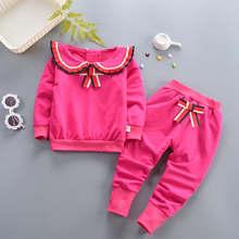 Весенне-осенние комплекты одежды для девочек; новые комплекты спортивной одежды для девочек; одежда для детей; хлопковый костюм из толстовки с принтом бабочки и штанов