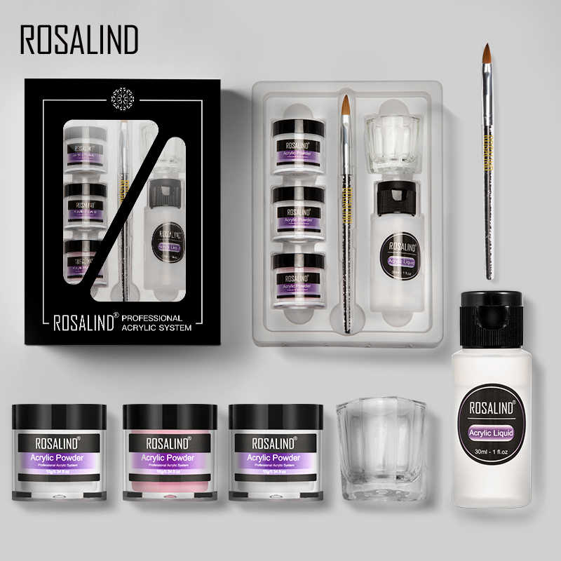Rosalind Acryl Nail Kit Voor Nail Art Design 10G Poeder Extension Gesneden Voor Manicure Set Gel Nagellak Set top En Base