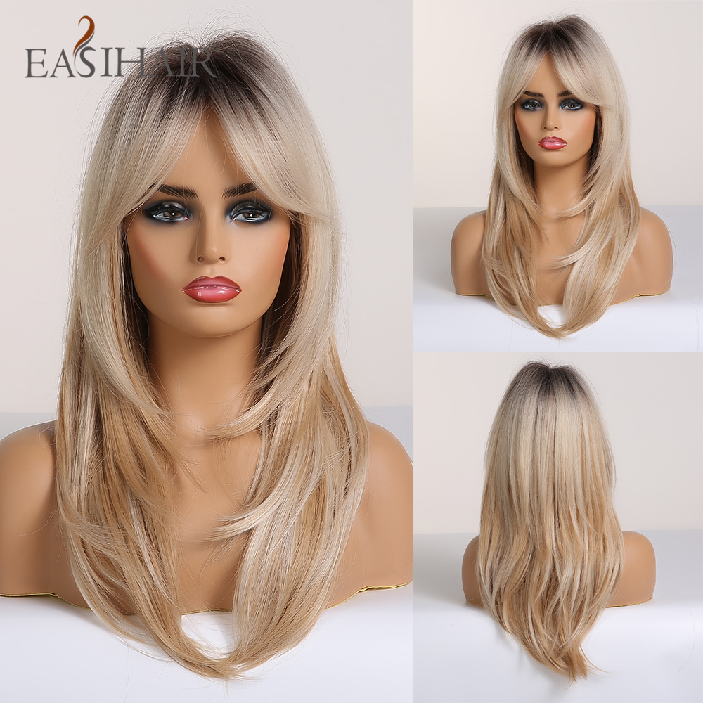 EASIHAIR Black To Blonde Omber Wigs With Bangs Synthetic Hair Wigs For Women Medium Length Layered Cosplay Wigs Heat Resistant