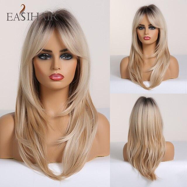 EASIHAIR siyah sarışın Omber peruk patlama ile sentetik saç peruk kadınlar için orta uzunlukta katmanlı Cosplay peruk isıya dayanıklı