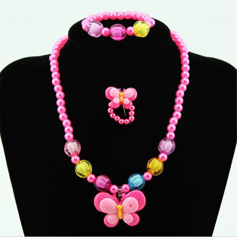 3pcs/set Pearl Child Jewelry Set Candy Color Butterfly Jewelry Set for Party Girls Jewelry Kids Necklace and Bracelet Set