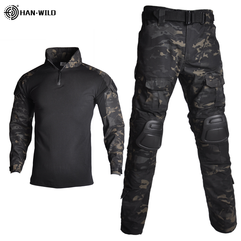 Military Uniform Suits Camouflage Military Clothes Suit Men US Army clothes Military Combat Shirt + Cargo Pants Knee/Elbow Pads