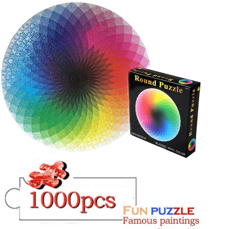 Rainbow Puzzles 1000 Pieces Round Gradient Rainbow Jigsaw Puzzles For Adults And Kids Gift Jigsaw Educational Toys Paper Puzzles