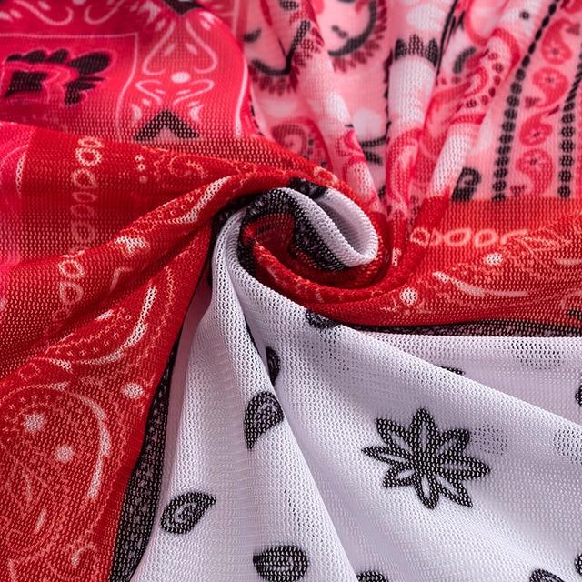 ANJAMANOR Pink Bandana Mesh Bodyocn Dress Club Outfits for Women Flared Long Sleeve Deep V Neck Draw String Mini Dress D85-BE12 6