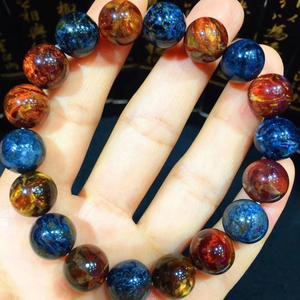 11,3 мм натуральный красный синий браслет-пиерсайт огненный Круглый браслет с бусинами для женщин и мужчин тянущийся браслет из Замбии серти...