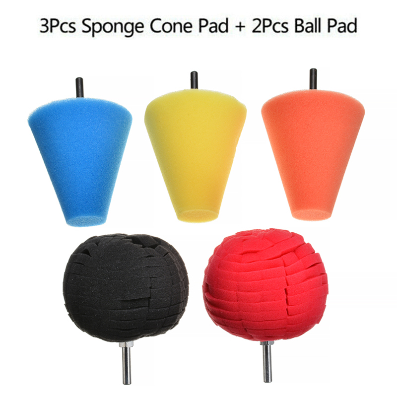 5pcs Burnishing Sponge Cone Metal Polishing Foam Cone Pad Buffing Polishing Ball For Car Wheel Hub Care