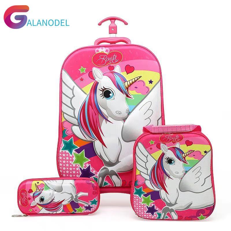 3PCS/set 3D Stereo Trolley Case Cute Baggage Anime Kids Travel Suitcase Girl Cartoon Luggage EVA Children School Bag With Wheels
