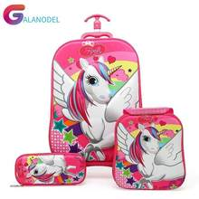 3PCS/set 3D Stereo Trolley Case Cute Baggage Anime Kids Travel Suitcase Girl Cartoon Luggage EVA Children School Bag with Wheels(China)