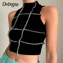Black Vest Tees Tank-Top Vintage Tops Ribbed Summer-Crop-Top Patchwork Knitted Bodycon