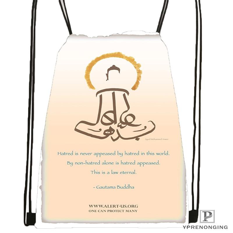 Custom Gautama-buddha  Drawstring Backpack Bag Cute Daypack Kids Satchel (Black Back) 31x40cm#20180611-02-77