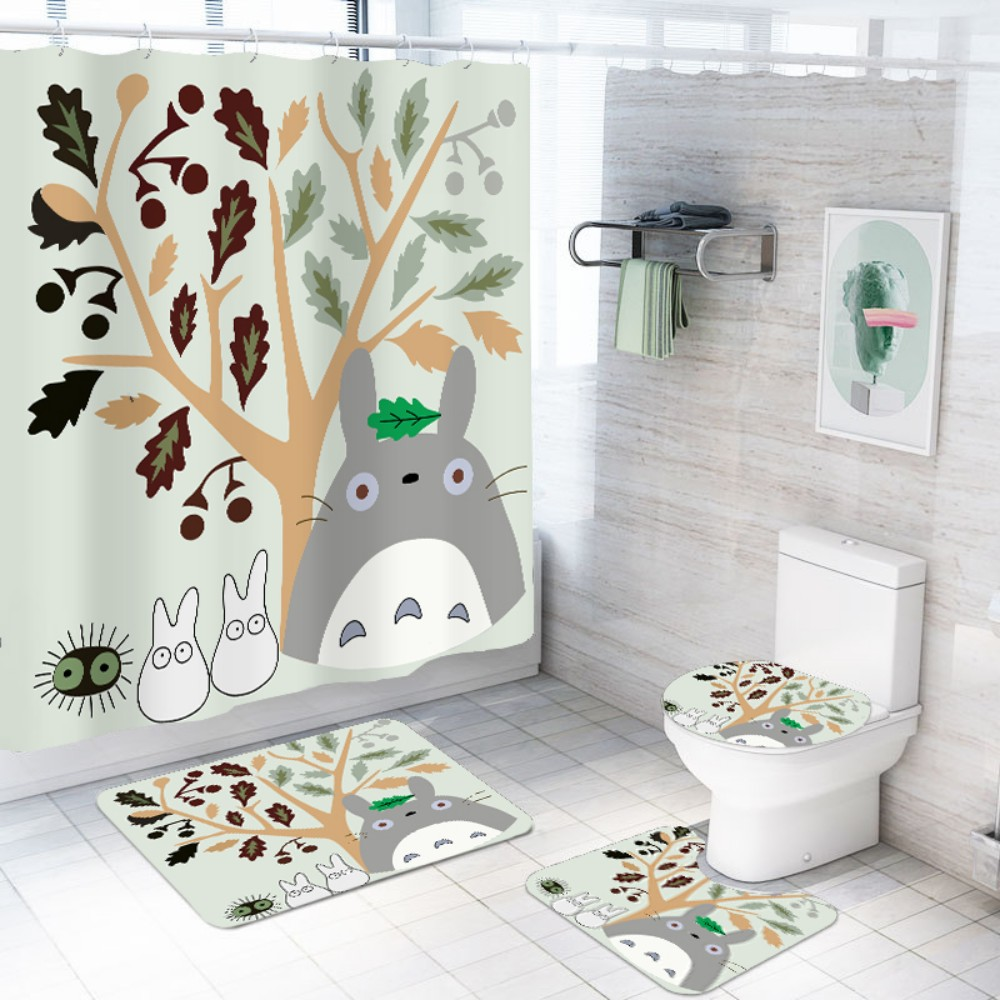 Fire Skull Black Shower Curtain Bath Mat Toilet Cover Rug Bathroom Decor Set