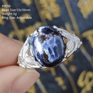 Image 2 - Женское и мужское кольцо кошачий глаз AAAAA, регулируемое колечко с натуральным синим драгоценным камнем, из серебра 925 пробы, ааааа