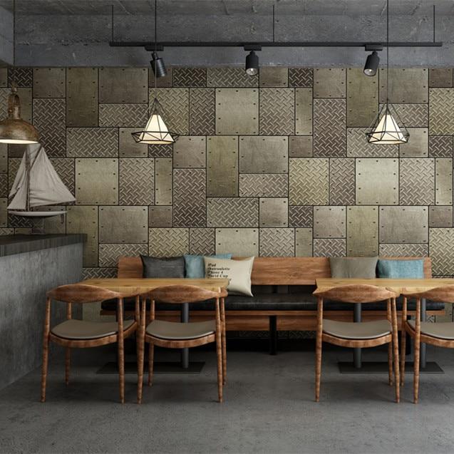3D Vintage Industrial-Style Wallpaper Model Metal Algam Barber Shop Restaurant Bar Coffee Shop Cool Nostalgia Wallpaper