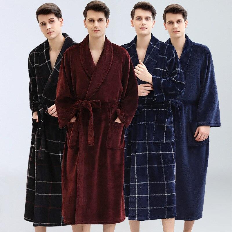 Men Winter Plaid Plus Size Long Flannel Bathrobe 40-130KG Warm Bath Robe Cozy Kimono Robes Dressing Gown Men Night Sleepwear