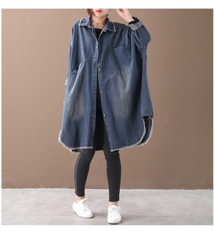 Female new autumn and spring plus plus size Korean style shirt literary retro washed do-old single-breasted denim thick   trench